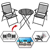 BenefitUSA 3 PCS Patio Bistro Set Foldable Outdoor Table and Chairs Set Furniture Wrought Iron Caff Set Metal (Black)