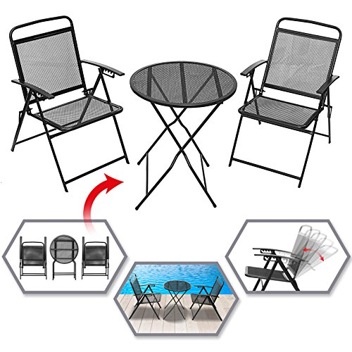 BenefitUSA 3 PCS Patio Bistro Set Foldable Outdoor Table and Chairs Set Furniture Wrought Iron Caff Set Metal (Black) Black Wrought Iron Furniture