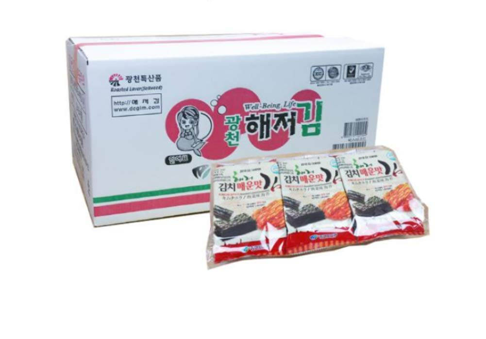 Kimch Flavor Roasted Seaweed Snack, Lunch Pack size (Pack of 72)