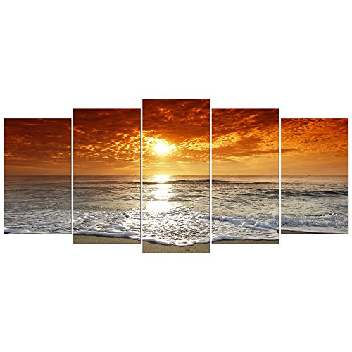 Fine Oil Painting Seascape (Wieco Art - Grand Sight Extra Large 5 Panels Modern Landscape Artwork HD Seascape Giclee Canvas Prints Sea Beach Pictures to Photo Paintings on Canvas Wall Art for Home Decorations Wall Decor)