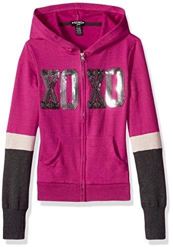 XOXO Big Girls' Fleece Logo Hoodie, Berry/Charcoal, 14/16