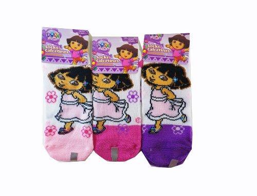 Nickelodeon Dora The Explorer Socks - Kids Novelty Socks ( 3 Pair ) Size 4-6