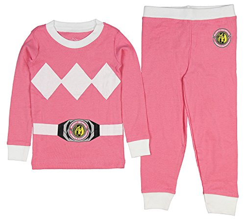Intimo Girls' Toddler Mighty Morphin Pink Ranger Pajama Set, 2T ()