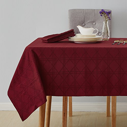 Deconovo Decorative Jacquard Tablecloth Wrinkle and Water Resistant Spill-Proof Rectangle Tablecloths with Geometric Patterns for Kitchen 54 x 72 inch Burgundy