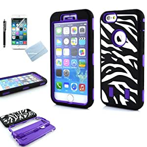 For iPhone 6 Case, SunnyFlower Hybrid High Impact Zebra Pattern Case for Apple iPhone 6 4.7 inch Fashion TPU + PC 3-Piece Style Hard Cover with Screen Protector and Stylus (Purple)