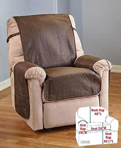 Matts Global Stylish Leather-Look Recliner Covers Memory Foam Cushion Faux Leather Construction (Chocolate)