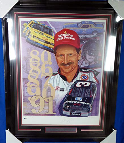 (Dale Earnhardt Autographed Framed Sam Bass Print Lithograph Photo