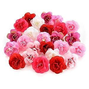 silk flowers in bulk wholesale Fake Flowers Heads Cherry Blossoms Artificial Tea Bud Flower Heads for Wedding Home Decoration Scrapbooking DIY 80pcs 4CM 38