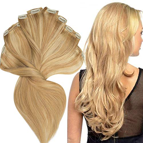 200g Real Triple Weft Extra Thick Clip in 100% Remy Human Hair Extensions Full Head (20 inch 7.05Oz #18/613 Ash Blonde/Bleach Blonde) 8 Pcs Set Grade 10A Natural Hair Pieces Long Straight for Women