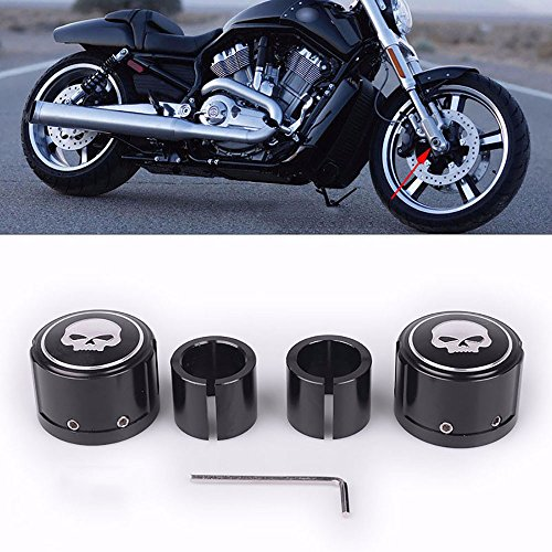 (2pcs Black Skull Front Axle Nut Cover Cap CNC Aluminum Rear Axle Nut Covers Bolt Kit for Harley Davidson VRSC XG)