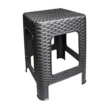 Schwarz Hocker Rattan Badhocker Sitzhocker Fu/ßhocker Stapelbar Kunststoff Campinghocker Tabure