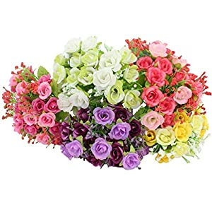 BUOP 5 Bunches (7 Branches/Bunch, 21 Heads/Bunch) Rose Bouquet, Assorted Color Artificial Flower Arrangement (Pink, Yellow, Purple, White, Red) 24