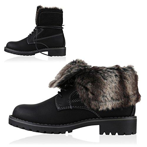 Stiefelparadies Kinder Mädchen Jungen Stiefeletten Worker Boots Warm Gefüttert Profilsohle Schuhe Flandell Schwarz Bernice