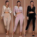 Wensltd 2018 Fashion Womens 2pcs Hoodies Sweatshirt Pants Sets Velvet Tracksuit Jogging Gym Sport Suit (L, Pink)