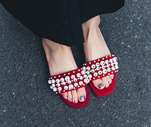 NobS Cuero Abierto Toe Flat Mule Zapatos Zapatos De Perlas De Perlas Red