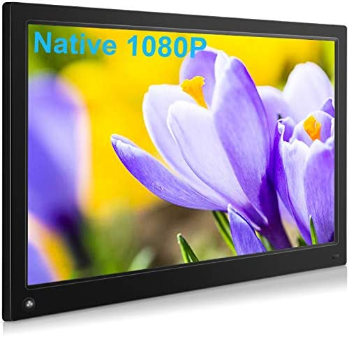 MRQ 15.6 Inch Digital Picture Frame Display Photos with Background Music, Digital Photo Frame Support Native 1080P Video USB SD Slot, 1920×1080 HD Resolution with Auto-Rotate, Motion Sensor Function,
