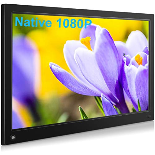 MRQ 15.6 Inch Digital Picture Frame Native 1080P Display Photos with Auto-Rotate, Background Music, Digital Photo Frame Support USB SD Slot, Motion Sensor Function New Large Remote