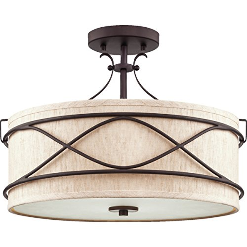 Two Light Fluorescent Semi-Flush Ceiling Fixture Antique Bronze Ecru Linen Shade 504722 - Linen Flush Shade
