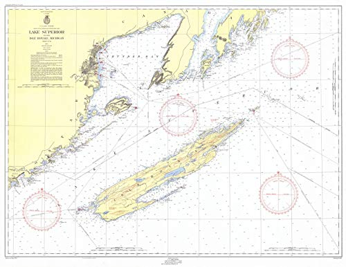 Map - Lake Superior Including Isle Royale Michigan, 1954 Nautical NOAA Chart - Vintage Wall Art - 59in x 44in (Depth Chart Superior Lake)