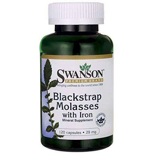 Swanson Blackstrap Molasses Elemental Iron (Ferrous Fumarate) 29 mg 120 Capsules Black Strap Molasses Iron