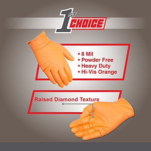 1st Choice - 1PONXL - Case of 400 - Extra Large, 8 mil, Heavy Duty Orange Disposable Nitrile Gloves, Premium Diamond Texture, Industrial Grade, Latex-Free by 1st Choice (Image #2)