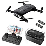 Choosebuy RC Drone with HD Camera, WiFi 2.0MP Camera Live Feed FPV/One Key Return/Foldable Quadcopter/Headless Mode Toy Outdoor Gift for Beginners (Black)