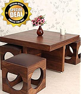 JS Home Decor Wooden Coffee Table With 4 Stools For Living Room   Matt  Polish,