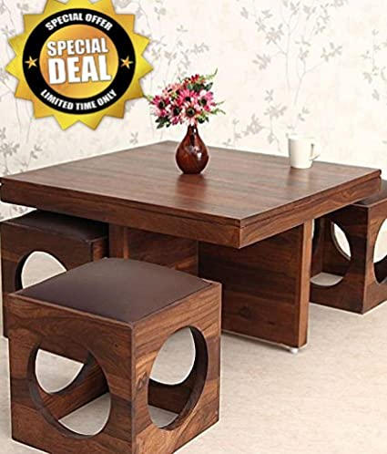 Coffee Table With Stools.Js Home Decor Wooden Coffee Table With 4 Stools For Living Room Matt Polish Chocolate Cushion