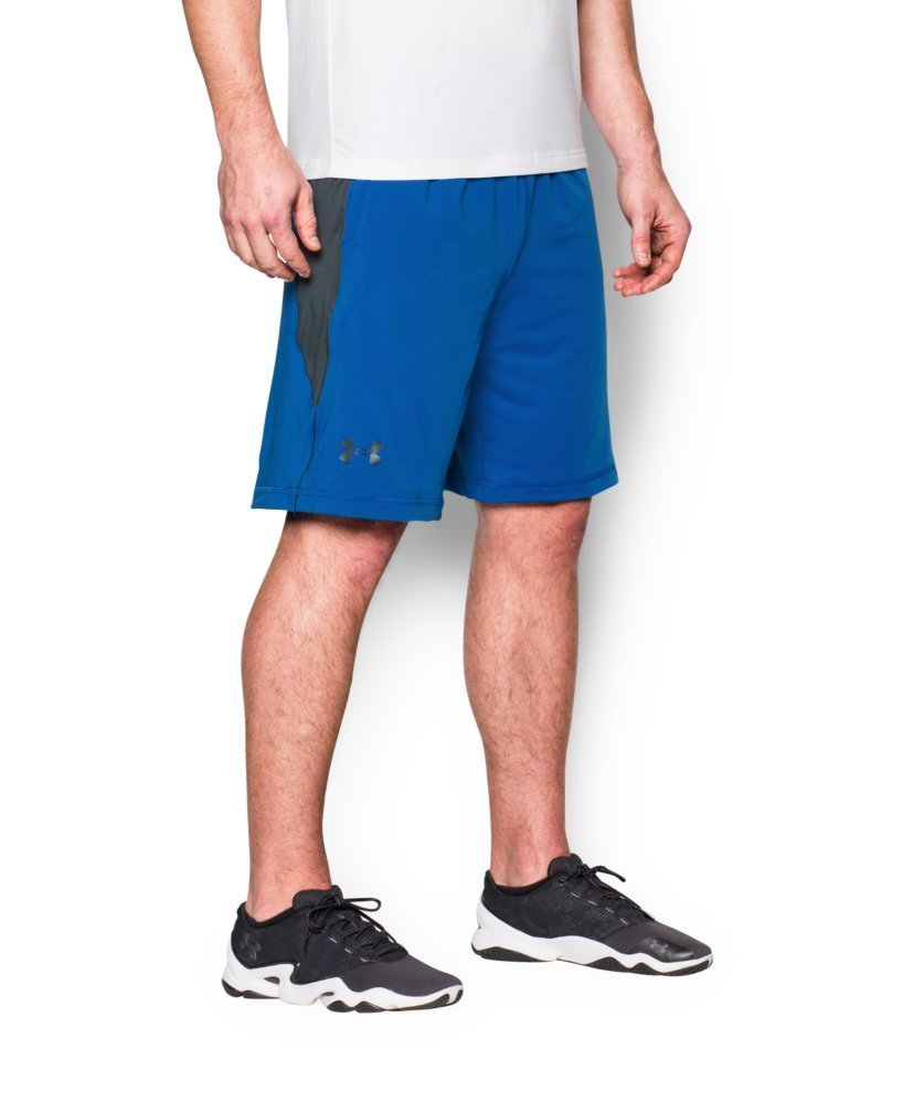 UNDER ARMOUR mens Raid 10-inch Workout Gym Short, Ultra Blue (907)/Stealth Gray, Medium
