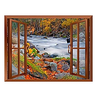 Copper Window Looking Out Into a Rocky River Surrounded by Trees Wall Mural, With a Professional Touch, Amazing Artistry