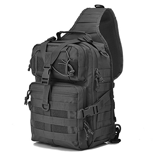 Tactical Sling Bag Pack Military Rover Shoulder Sling Backpack EDC Molle Assault Range Bags Day Pack with Tactical USA Flag Patch]()