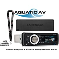 Aquatic AQ-MP-5UBT-HS Harley Davidson Replacement Radio, SiriusXM Ready, Dust/Dummy Faceplate Cover and a FREE SOTS Lanyard Package
