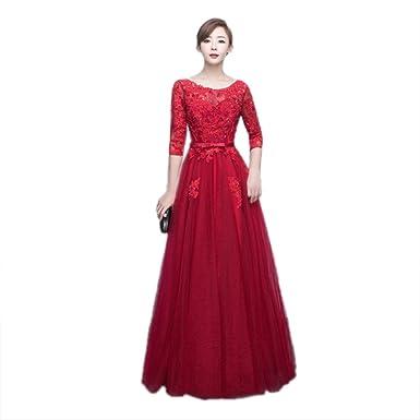 cotyledon Women`s Red Long Formal Dresses Half Sleeves Scoop Neck Slim Fit Dress
