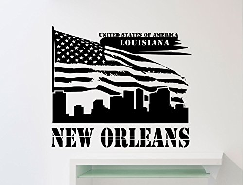 65xx the best amazon price in savemoney new orleans louisiana wall decal united states flag vinyl sticker home art interior decoration any room fandeluxe Gallery