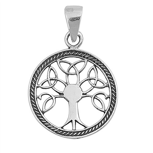 Celtic Tree of Life Family Love Charm .925 Sterling Silver Pendant ()