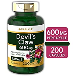 Carlyle Devils Claw 600 mg (200 Capsules) - Concentrated Root Extract, Non-GMO, Gluten Free Supplement
