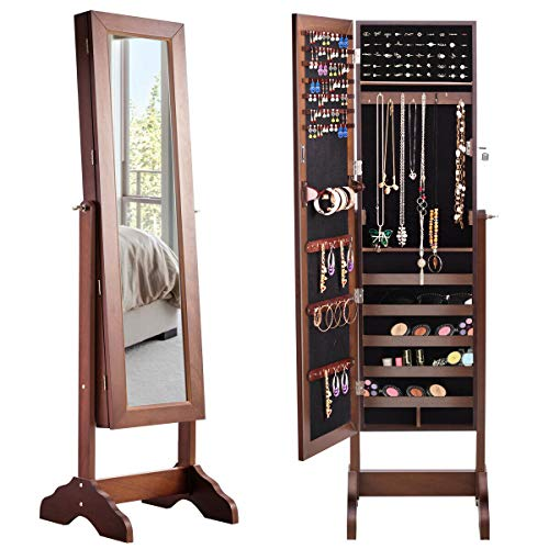 WATERJOY Mirror Jewelry Cabinet Free Standing, Classic Jewelry Armoire Storage Organizer Cabinet, 360° Rotatable, Coffee