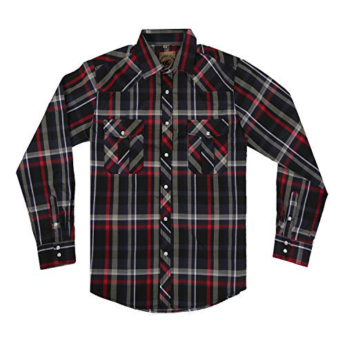 (Men's Casual Long Sleeve Plaid Shirt with Pearl Snaps (Red/Black #6,XXL) )