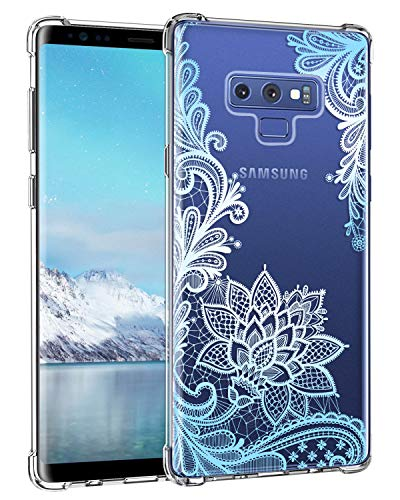 Casetego Compatible Galaxy Note 9 Case,Clear Soft Flexible TPU Case Rubber Silicone Skin with Flowers Floral Printed Back Cover for Samsung Galaxy Note 9-Blue Flower