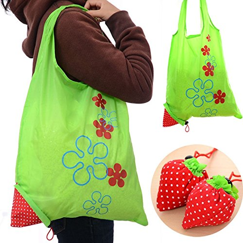 JD Million shop 1 Piece Eco Storage Handbag Strawberry Foldable Shopping Tote Reusable Bags Random Color