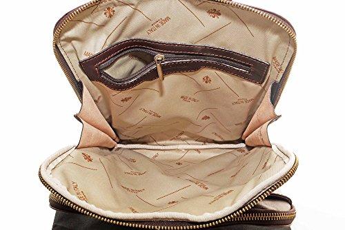 Lusso italiano pelle Ladies qualità classico stile Vintage zaino borsa portadocumenti Tracolla.Fornita nella pratica custodia protettiva marca Marrone scuro