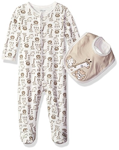 Little Me Baby Safari Footie and Bib, Ivory Multi, Newborn
