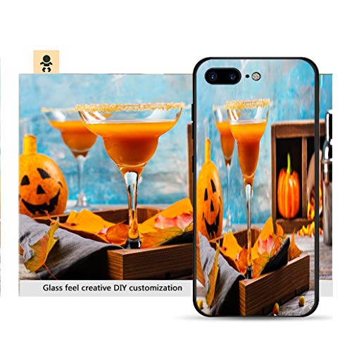 iPhone 7p / 8p Ultra-Thin Phone case Autumn Pumpkin Margarita Cocktail with Halloween Decor Resistance to Falling, Non-Slip, Soft, Convenient Protective -