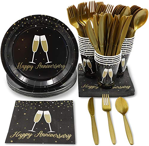 (Blue Panda Black & Gold Anniversary Disposable Party Supplies - Plates, Utensils, Napkins, Cups, Serves 24)