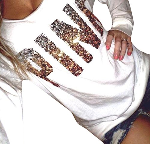CFD Womens Mix Color Letters Printed Long Sleeve Sweatshirts 1 M