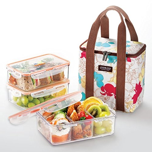 LocknLock Square Bento Lunch Box Set with Insulated Bag + 3 Tritan Containers