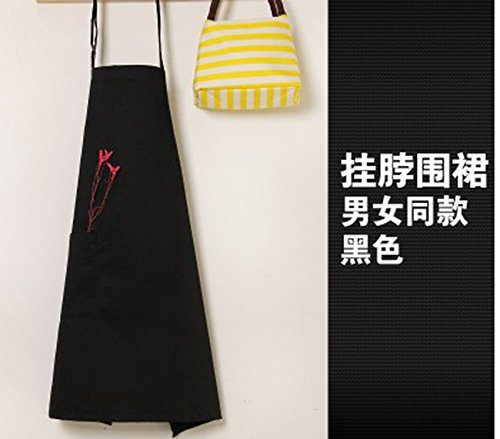 geranjie Kitchen home aprons men and women restaurant apron chef waiter milk tea nail work wear adjustable shoulder strap print (Shoulder Straps Tea)
