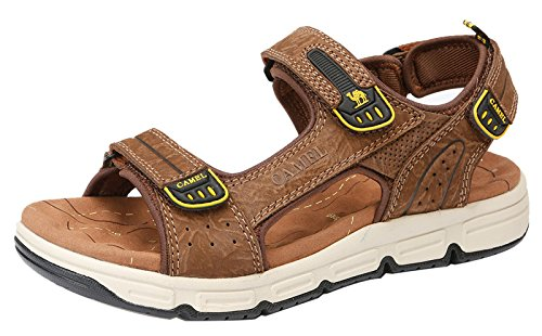 Mens Cowhide Leather Comfort Sport Sandals Outdoor Walking Sandals Beach Waterproof Strap Open Toe Shoes for Men,Dark Brown,250mm by Camel (Image #1)