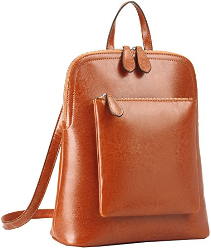 Heshe Women's Vintage Leather Backpack Casual Daypack for Ladies and Girls (Brown-R-S)