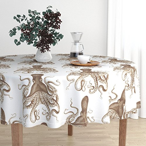 Roostery Round Tablecloth - Octopus Octopus Oasis in Sepia Sepia Nautical Ocean Octopus Spa Ikat Brown by Willowlanetextiles - Cotton Sateen Tablecloth ()